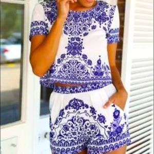 SHEIN Paisley Matching Shorts Set